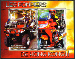 2004, POMPIERS DE HONG KONG II, AUTOMOBILE, MOTO, 4 Valeurs En Feuillet, Neufs / Mint. RcivHK2 - Viñetas De Fantasía