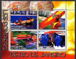 2004, POMPIERS DE RIO DE JANEIRO, CAMION, HORS-BORD, 4 Valeurs En Feuillet, Neufs / Mint. RcivRio - Vignettes De Fantaisie