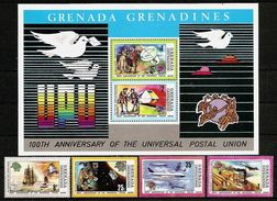 GRENADA GRENADINES 1974 - Centenary UPU - BLOC 3 + 4v Mi 26-29 MNH ** DISCOUNT Q715 - Grenada (1974-...)