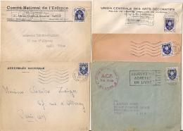 5 Mecaniques PARIS Sur BLASON 5F. 1955/1956 - Marcophilie (Lettres)