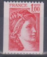 Année 1977-78 - N° 1981 - Sabine - Timbre De Roulette Avec N° 300 Rouge Au Verso - Rollen