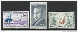 """FR YT 1328 1329 1344 """" Personnalités """" 1962 Neuf** - France"""