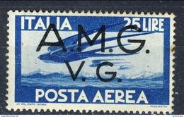 Trieste VG Zona A Posta Aerea 1945 - 47 N. 6 L. 25 Azzurro MNH Cat. € 3.50 - 7. Triest