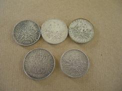 Lot De 5 Pièces En Argent De 5 Francs Et Une Pièce En Argent De 100 Francs - Francia