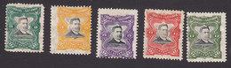 El Salvador, Scott #379-380, 382-383, 386, Mint Hinged, Pres. Figueroa, Issued 1910 - Salvador