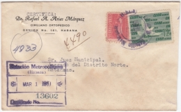 1960-H-57 CUBA. 1960 SOBRE CERTIFICADO ESTACION METROPOLITANA. PALOMA BIRD PIGEON. - Covers & Documents