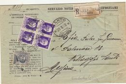 28.8.1929 Imp. 50c. Quartina Su Atti Giudiziari - Ambulante Milano-Bologna - 2 Foto - Marcofilía