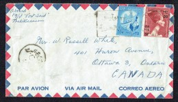 1960 Air Letter To Canada  Nefertiti 100 Mills, Overprinted UAR And 55 Mills, 35 Mills Export Definitive - Cartas
