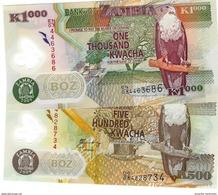 ZAMBIA 500 & 1000 KWACHA 2009 P-43g 44g UNC  [ZM145g 146g] - Zambia