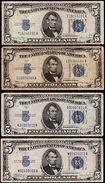 USA SERIES 1934A-C-D  X 4 FIVE DOLLAR SILVER CERTIFICATES IN NICE GRADES. - Certificati D'Argento (1928-1957)