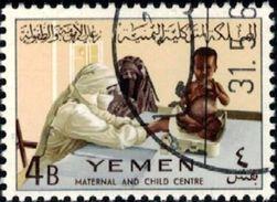 Child Welfare, Nurse Weighing Child, Yemen Stamp SC#132 Used - Yémen