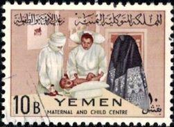 Child Welfare, Nurse Weighing Infant, Yemen Stamp SC#134 Used - Yémen