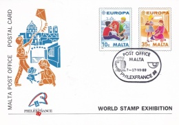 Malta 1989 Postal Stationary Europa CEPT - Used Philexfrance (DD3-35) - 1989