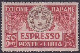 Italy-Colonies And Territories-Libya E 4 1921 Special Delivery Stamp,50c Red,mint Hinged - Libya