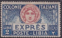 Italy-Colonies And Territories-Libya E 8 1922 Special Delivery Stamp,2 Lire Blue And Carmine,mint Never Hinged - Libya