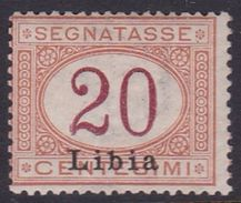 Italy-Colonies And Territories-Libya PD 3 1915 Postage Due,20c Orange And Carmine,mint Hinged - Libya