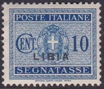 Italy-Colonies And Territories-Libya PD 13 1934 Postage Due,10c Blue,mint Hinged - Libya