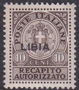 Italy-Colonies And Territories-Libya RA 4  1922 Recapito Autorizzato,10c Mint Hinged - Libya