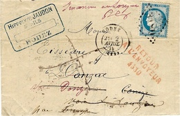 1875- Lettre De Rodez ( Aveyron )  Pour Lonzac ( Corrèze) Avec RETOUR 4530 ROUGE De LE LONZAC - Postmark Collection (Covers)
