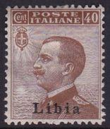 Italy-Colonies And Territories-Libya S 8 1912-15 ,40c Brown,Mint Hinged - Libya