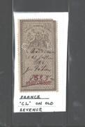 "FRANCE ""ENREGISTREMENT TIMBRE - DOMAIN"" 23 JULLIET, 1884 PERFIN ""C L"" - France"