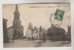 CPA MAUGES SUR LOIRE (Maine Et Loire) - BEAUSSE : L'Eglise Et La Place - Autres Communes