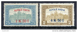 HUNGARY 1918 Airmail Overprint Set Of 2 LHM / **.  Michel 210-11 - Airmail