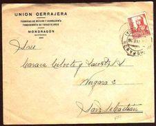 Girostamps54 - Guerra Civil.- Carta Comercial Circulada De Mondragon A San Sebastian Con Cruzada Contra El Frío - 1931-Hoy: 2ª República - ... Juan Carlos I