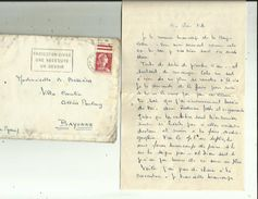 Enveloppe Timbrée  Lettre De Mr CAILLAUD  A Bonnieres-Charenton_Adressé A Melle BOSSIERES A BAYONNE 64 EN 1959 - Commemorative Labels