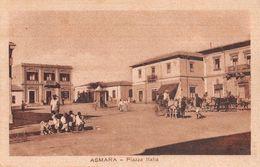 "06278 ""ERITREA - ASMARA - PIAZZA ITALIA"" ANIMATA, CARROZZA CON CAVALLI.  CART  NON SPED - Erythrée"