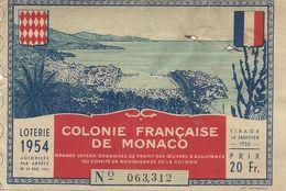 MONACO . LOTERIE 1954 - Billets De Loterie