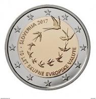"""Pièce 2 Euros Commémorative  UNC Slovenie 2017   """" 10 Ans De La Slovénie Dans La Zone Euro    """" - Slovénie"""
