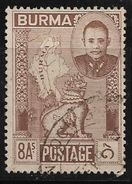 Burma British Colony Commonwealth Map Emblem 8 Annas Used Stamp # AR:165 - Burma (...-1947)