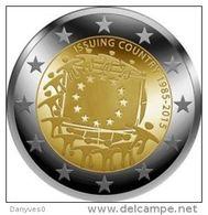"""Pièce 2 Euro Commémorative  UNC  Luxembourg  """"  Drapeau Européen  """" - Luxembourg"""