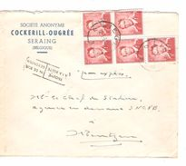 TP 925(5)Perforés B  S/L.Exprès En-Tête S.A.Cockerill - Ougrée Seraing C.Liège 12/1/1957 V.Montzen C.d'arrivée T.T.851 - Belgique