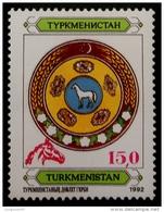ARMOIRIES NATIONALES 1993 - NEUF ** - YT 20 - SURCHARGE TETE DE CHEVAL ROUGE - Turkménistan