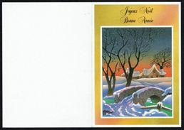 BONNE ANNEE - CP X2 - Paysage Hivernal - Circulé Ss Enveloppe - Circulated Under Cover - Gelaufen U. Um. - Nouvel An