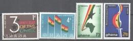 Ghana 1963 Yvert 135-38, 3rd Anniversary Of The Republic - MNH - Ghana (1957-...)