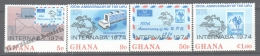 Ghana 1974 Yvert 499-502, Centenary Of UPU, Universal Postal Union , Overprinted - MNH - Ghana (1957-...)