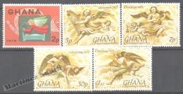 Ghana 1975 Yvert 536-40, Christmas, Musical Angels - MNH - Ghana (1957-...)