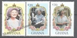 Ghana 1985 Yvert 900-02, 85th Ann. Queen Mother Elizabeth (II) - MNH - Ghana (1957-...)