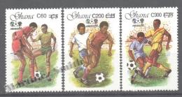 Ghana 1989 Yvert 990-92, Football, Overprinted New Values - MNH - Ghana (1957-...)