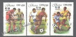 Ghana 1989 Yvert 1008-10, Football Mexico ´86, Overprinted New Values - MNH - Ghana (1957-...)