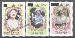 Ghana 1989 Yvert 1066-68, Queen Mother Anniversary, Overprinted New Values - MNH - Ghana (1957-...)