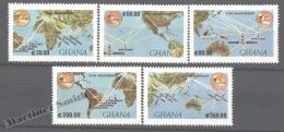 Ghana 1990 Yvert 1115-19, 25th Anniversary Of Intelsat - MNH - Ghana (1957-...)