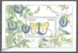 Ghana 1990 Yvert BF 151, Fauna, Butterflies (II) - Miniature Sheet - MNH - Ghana (1957-...)