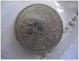 1974 5 FRANCS FR FRANC FDC BU FLEUR DE COIN SOUS BLISTER MONNAIE DE PARIS PIECE NEUVE - Z. VZ