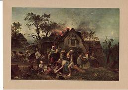 """Reproduction Ancienne """"Village En Flammes"""" De Ludwig KNAUS  Ft 17 X 25 Cm - Estampes & Gravures"""