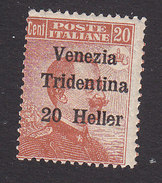 Italian Occupation Of Austria, Scott #N63, Mint Hinged, Italian Stamp Surcharged, Issued 1918 - 8. WW I Occupation