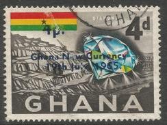 Ghana. 1965 New Currency O/P. 4p On 4d Used. SG 384 - Ghana (1957-...)